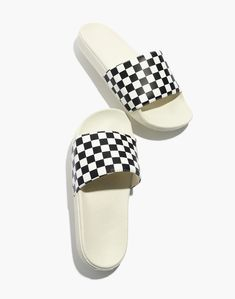 Madewell Vans Slide-On Sandals in Checkerboard - Size Shoes Flats Sandals, Sport Sandals, Pump Shoes, Women Sandals, Oxfords, Pumps, Vans Slides, Cute Slides, Camo Wedding Rings