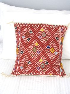 Wool Mexican Pillow Cover | Embroidered | Red | Chiapas Bazaar | Handmade Mexican Blouses, Accessories & Home Decor from Rural Artisans
