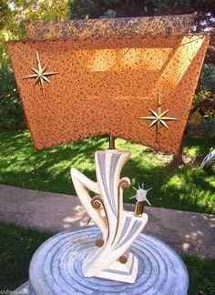 VTG 1950's Mid Century  Fiberglass Starburst Shade Table Lamp W/ Satellite Bulb