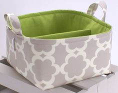 "LG Diaper Caddy 10""x10""x6""- Storage Bin Basket Container Organizer - Tarika Grey Fabric. $40.00, via Etsy."