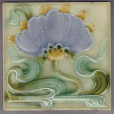 Art Nouveau Majolica tile (one of a kind blue violet)