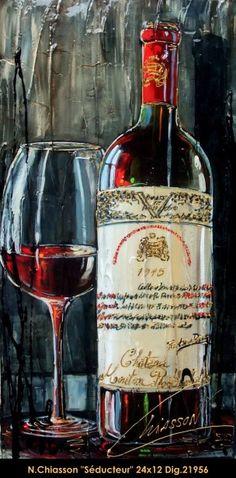 Nathalie Chiasson original acrylic painting on canvas #nathaliechiasson #art #artist #canadianartist #quebecartist #originalpainting #acrylicpainting #wine #balcondart #multiartltee