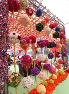 Flower Decoration for Wedding Stage Lovely Beautiful Colorful Floral Balls for Mehendi Decor See More The Effective Pictures We Offer You About wedding decorations reception A quality picture can tell Wedding Hall Decorations, Marriage Decoration, Flower Decorations, Mehndi Decor, Mehendi Decor Ideas, Quirky Wedding, Ethnic Wedding, Trendy Wedding, Boho Wedding