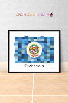 Minnesota Flag Print Poster Wall art Minnesota US State flags Minnesota MN printable download Home Decor Digital Print gift GreenGreenDreams