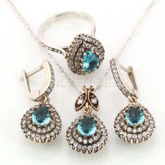 925 sterling silver set aquamarine blue topaz hurrem sultan turkish Серебряный набор roxelana kosem ottoman jewelery handmade orginal model by SILVERSEZ on Etsy