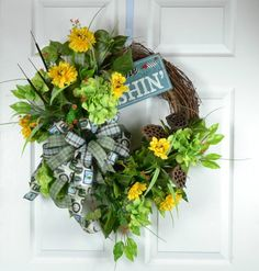 Fishing Wreath for Door  Father's Day by GaslightFloralDesign