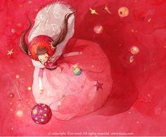 Illustration by Korean artist Kim Min Ji Kawaii Illustration, Children's Book Illustration, Book Illustrations, Kim Min Ji, Coral, Female Character Design, Korean Artist, Pictures To Draw, Love Art