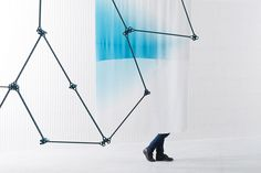 Front: Screen #7 (anodised aluminium and cable). Middle: Screen #14 (dyed silk). Back: Screen #13 (enamelled ceramic).Photo © Studio Bouroullec.