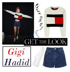 """""""[get the look] Gigi Hadid"""" by celeste-brdn ❤ liked on Polyvore featuring Topshop, Tommy Hilfiger and Vans"""