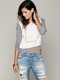 // oh YES. loose-fit everything equals yum. // Free People Embroidered Pullover