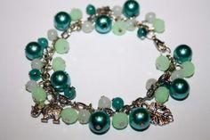 Mooie volle armband in mint, opaalwit, zeegroen en petrol