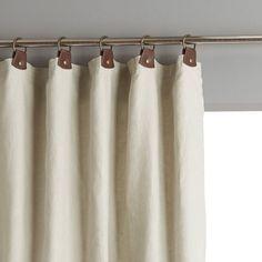 Rideau lin lavé doublé, passants cuir, private Am.Pm | La Redoute