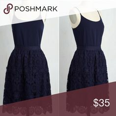 ModCloth Catamaran Dress Got Your Tongue Dress Never worn, navy, crochet detail midi dress. Brand new without tags. Fully lined. Sleeveless (spaghetti straps). Feel free to ask a question or make an offer! doe & rae Dresses Midi