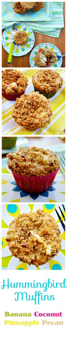 Hummingbird Muffins - inspired by the classic southern hummingbird cake.  These delicious muffins start with a moist banana pineapple spice cake that's filled with a spoonful of sweetened cream cheese and topped with a handful of nutty pecan streusel.  This tropical treat is PERFECT for Mother's Day Brunch or breakfast any day of the week! | thehungrytravelerblog.com