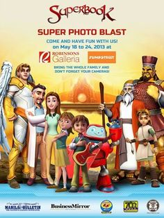 Get a chance to meet and greet Superbook's Gizmo Seesaw, Luau, Lions, Have Fun, Bring It On, Meet, Children, White Teeth, Robots
