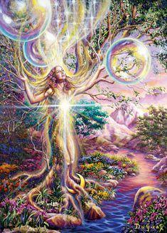 The Heart of Nature - art by Mario Duguay Josephine Wall, Celestial, Art Visionnaire, Spiritual Paintings, Photo D Art, Mario, Visionary Art, Fairy Art, Psychedelic Art