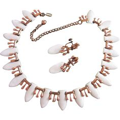 Renoir Matisse White Enamel Over Copper Necklace, Earrings Set found at www.rubylane.com @rubylanecom