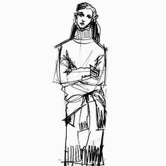 Fashion illustration - fashion design sketch for Jil Sander
