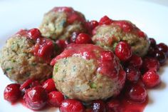 Herbed turkey meatballs with cranberry sauce... kind of a thanksgiving flavor