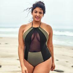 Color Block Mesh Plus Size One Piece Swimsuit Plus Size One Piece, Looks Plus Size, Bikini Swimwear, Bikini Tops, Swimsuits, Nayantara Hot, Hot Blonde Girls, Curvy Fashion, Women's Fashion