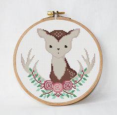 Modern deer Cross Stitch Pattern flowers от AnimalsCrossStitch