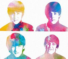 The Beatles Watercolor Collage
