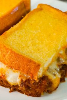 Sloppy Joe Grilled Cheese Casserole is an easy ground beef dinner recipe your whole family will love. This tasty casserole is loaded with mozzarella cheese and sloppy joe filling sandwiched between two layers of bread. Hamburger Meat Recipes Easy, Ground Beef Recipes Easy, Beef Recipes For Dinner, Cooking Recipes, Burger Recipes, Crockpot Recipes, Easy Recipes, Easy Meals, Grilled Cheese Sloppy Joe