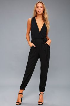 Lulus Exclusive! Be a step ahead of the rest in the Take On the Day Black Sleeveless Surplice Jumpsuit! Lightweight woven fabric composes this simply chic jumpsuit, with a sultry, surplice neckline and sleeveless bodice. Elasticized waist, with tying accent, tops tapered pant legs with side seam pockets and elastic cuffs. Back keyhole with top button.