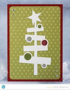 Glitter tree ornament Christmas card #silhouettedesignteam