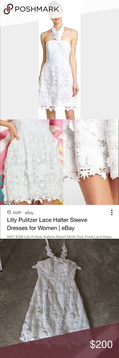 Lilly Pulitzer White Floral Lace Halter Dress Beautiful white floral Lace overlay dress. Perfect condition. Worn twice. Dry cleaned. Strap can be removed to make the dress strapless (shown in last pic). Open to all offers! Lilly Pulitzer Dresses Strapless