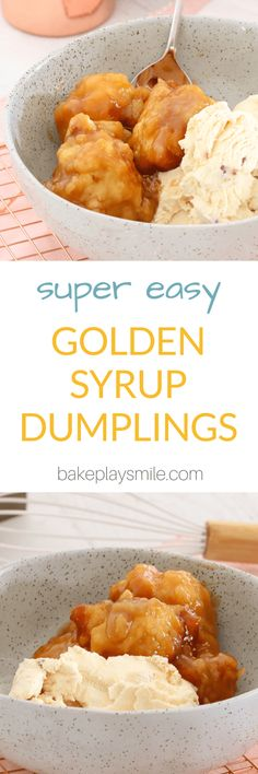 These super easy GOLDEN SYRUP DUMPLINGS are sure to become a family favourite! Serve hot with a big scoop of ice-cream for the perfect dessert.  #golden #syrup #dumplings #best #recipe #winter #dessert #easy #video