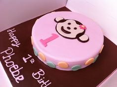 Chocolate buttercream Monkey cake for a beautiful girls 1st birthday. Made with organic butter, eggs, flour, milk and green and blacks chocolate