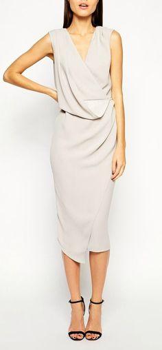 drape midi dress, loving the shoes too! #mididress