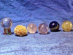Miniature Gemstones Gazing Ball Sphere Set w/ Hand-Decorated Stand Faerie Garden #PetBunnyCreations