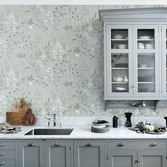 tienda online telas & papel | Papel pintado de flores Flora color gris