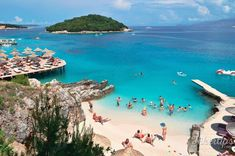 Ksamil Beach is divided into a number of small private beaches blessed with fine sand and clear turquoise waters Fine Sand, Turquoise Water, Beach Fun, Beautiful Beaches, Blessed, Coast, The Incredibles, Number, Amazing