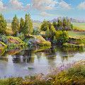 Evening On The Volga River Painting by Roman Romanov