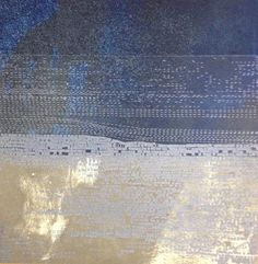 Etching Print Abstract Art Navy Blue  by ElviaPerrin