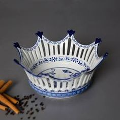 Buy online Decorative Bowls - 'the crown' traditional blue & white hand-painted bowl - from The Decor Kart Decorative Items, Decorative Bowls, Sequin Cushion, Ceramic Fish, The Crown, Plate Sets, Plates On Wall, Home Decor Items, Cushion Covers