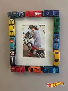 or Matchbox or little car of your choice... no branding here! Take cars, preferably ones not still being used by your child and make an awesome picture frame for their picture! #griswolddadprojects