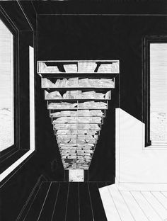 architecture library drawing indian ink