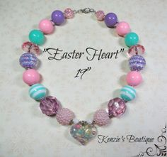 """Easter Heart"" Chunky Beaded Necklace Child, Adult, Photo Prop"