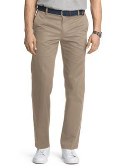 IZOD Khaki Slim Fit American Chino Flat Front Wrinkle-Free Pants
