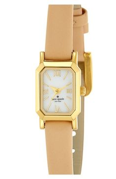 Free shipping and returns on kate spade new york 'tiny hudson' leather strap watch, 15mm x 25mm at Nordstrom.com. Timeless Roman numerals round the dial of a slender, sophisticated watch shaped with a lovely octagonal case and a croc-embossed leather strap.
