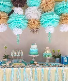 those hanging poms are SO COOL!  {with ribbon tassels to look like jellyfish}
