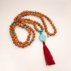 Sea and Surf Mala Breath In Breath Out, Turquoise Pendant, Burgundy Color, Bead Crafts, Tassel Necklace, Necklaces, Beaded Jewelry, Jewellery, Surfing