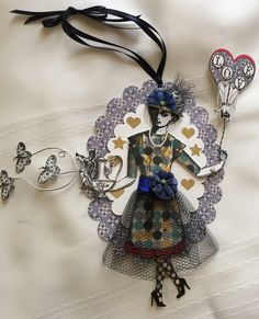 Valentine, Paper Doll, Art Tag, Ornament, Art Stamps, Antique Millinery Flowers, Mixed Media