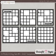 A Photo A Day Set 4 - 12x12 Two Page Templates :: Gotta Pixel Digital Scrapbook Store - project life, project 365, a photo a day