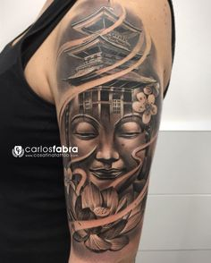 buddha with louts half sleeve tattoo 58 Asian Tattoos, Leg Tattoos, Body Art Tattoos, Sleeve Tattoos, Turtle Tattoos, Tattoo Art, Tattos, Tribal Tattoos, Buda Tattoo