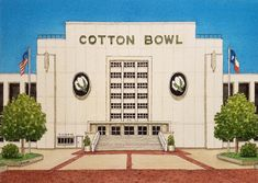 x Dallas Texas. Watercolor Paintings, Painting Art, Watercolors, Dallas Texas, Dallas Football, Cotton Bowl, Football Stadiums, San Antonio Riverwalk, Texas Music